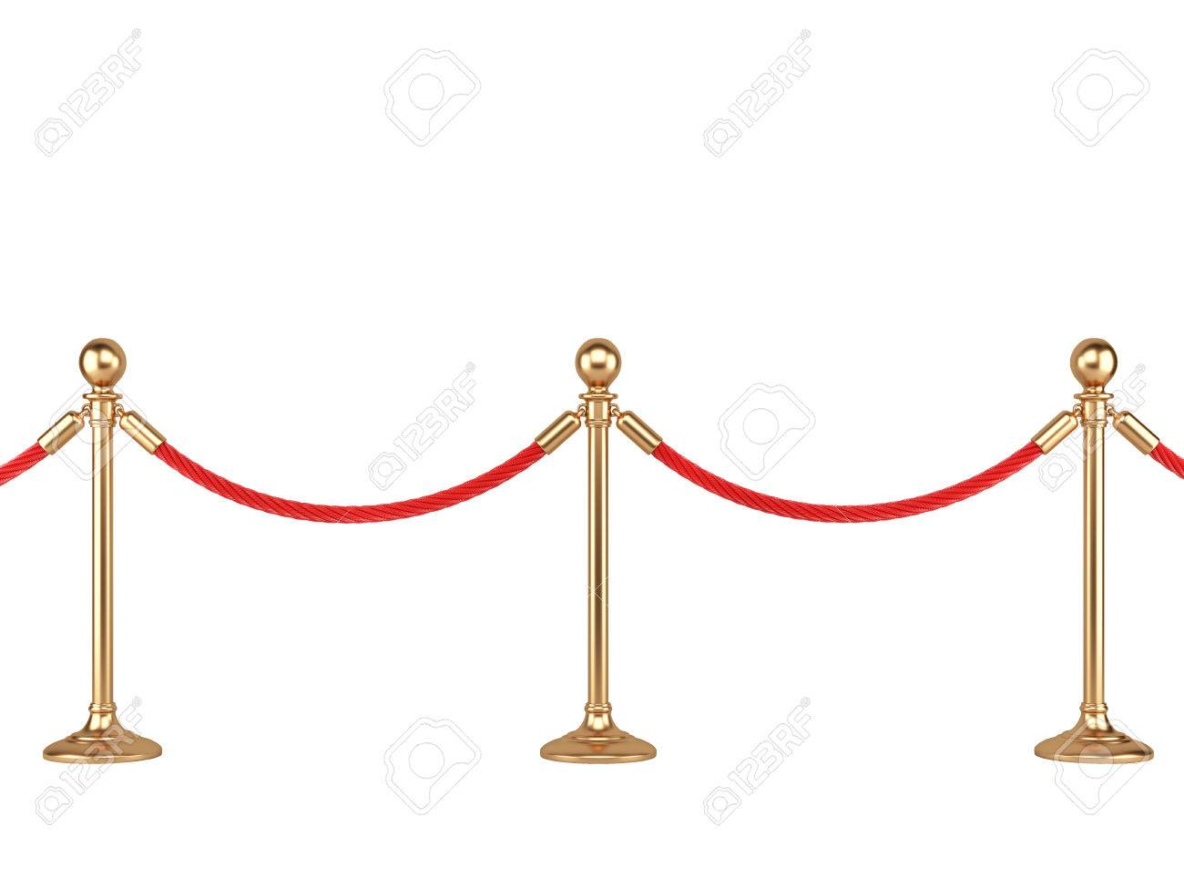 stanchions gold stanchions with rope isolated on white background