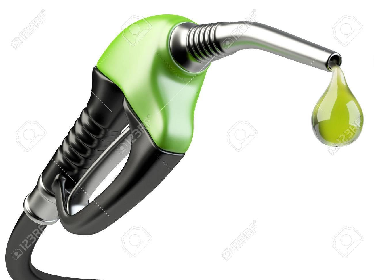 Green fuel pump nozzle with drop oil. Bio fuel concept. - 37652505