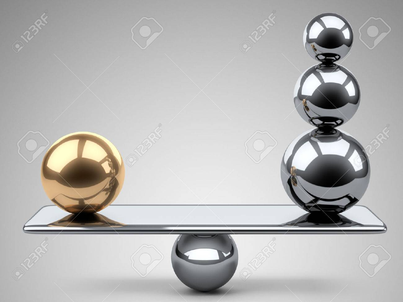 Balance between large gold and steel spheres. 3d illustration on a grey background. - 43834615