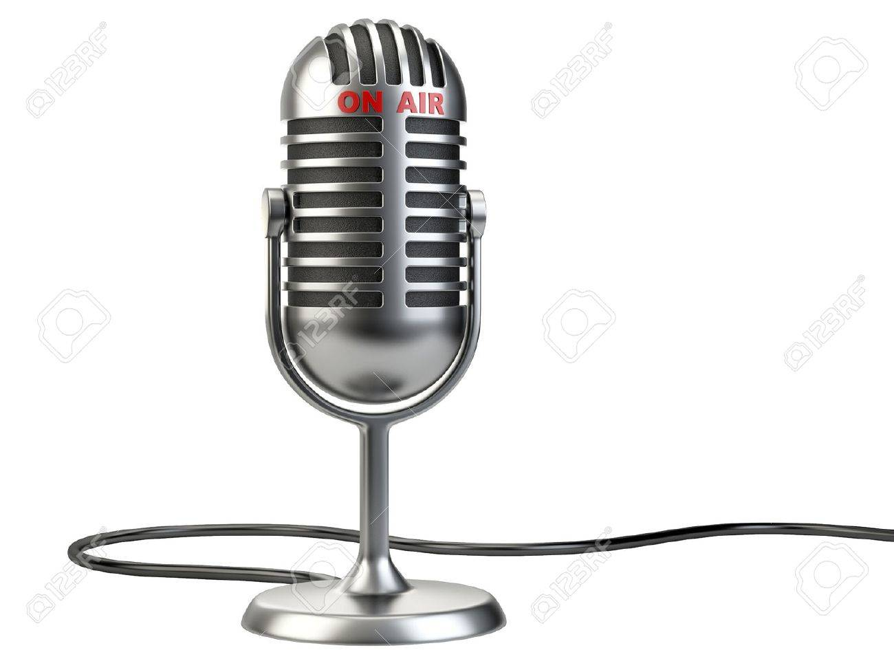"""Retro style microphone with """"on air"""" sign isolated on a white background - 44826592"""