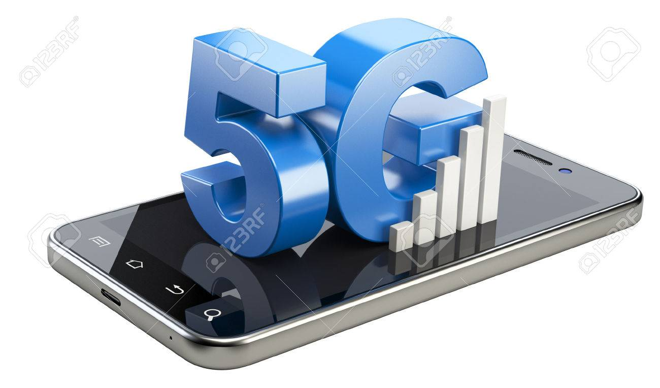 5G sign on smart phone screen. High speed mobile web technology. 3d illustration isolated on a white background. - 49196756