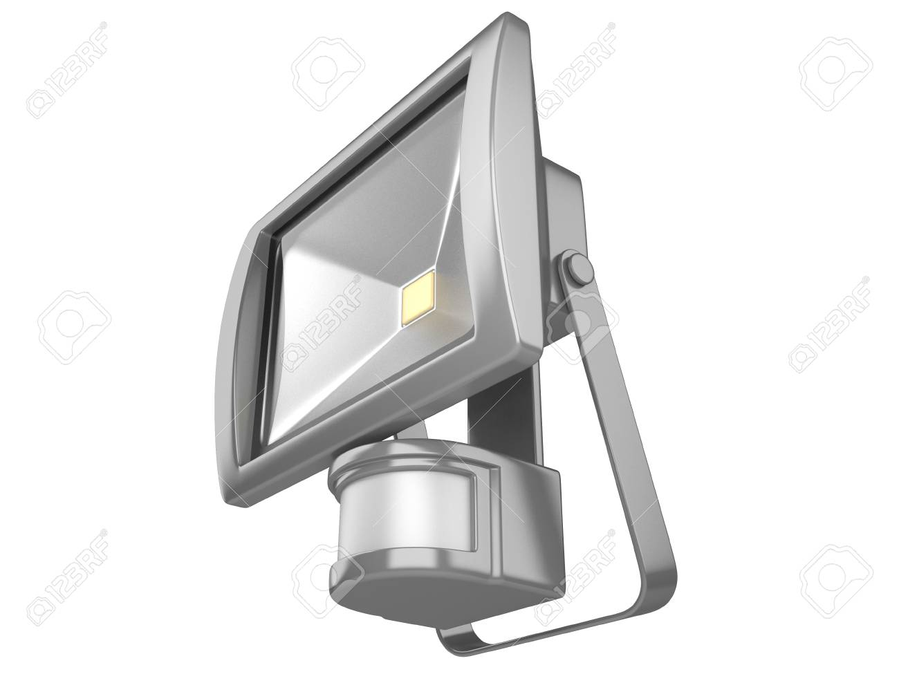 A LED waterproof spotlight with motion Sensor isolated on white background. - 55501597