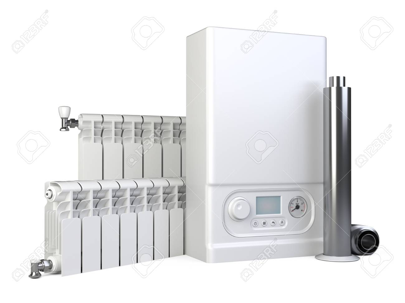 Gas Boiler Heater Radiator Set And Chimney Pipe For House Heating