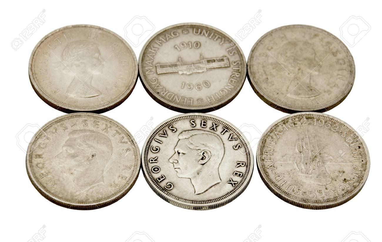 Sechs Vintage Vereinigung Von Südafrika Fünf Schilling Münzen