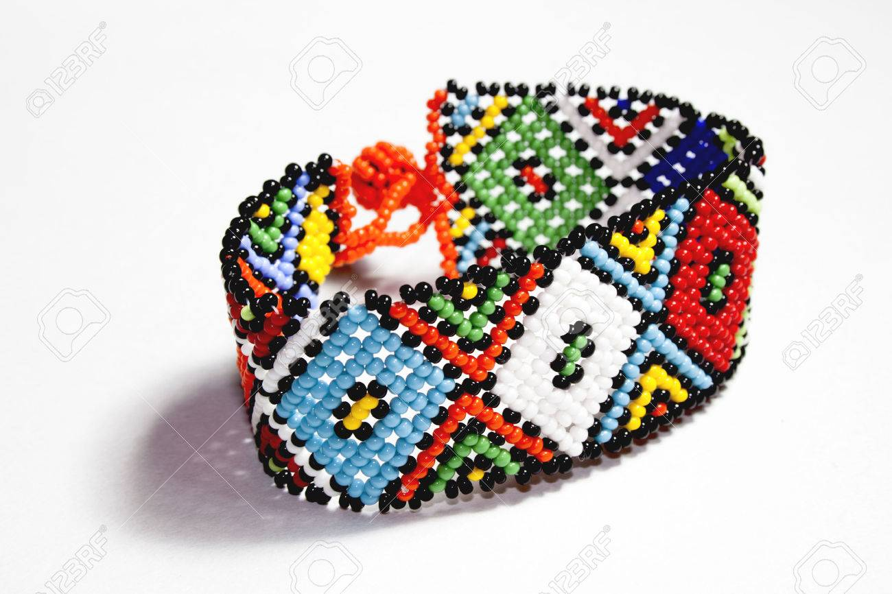 isolated traditional bright beaded zulu bracelet Stock Photo , 27263038