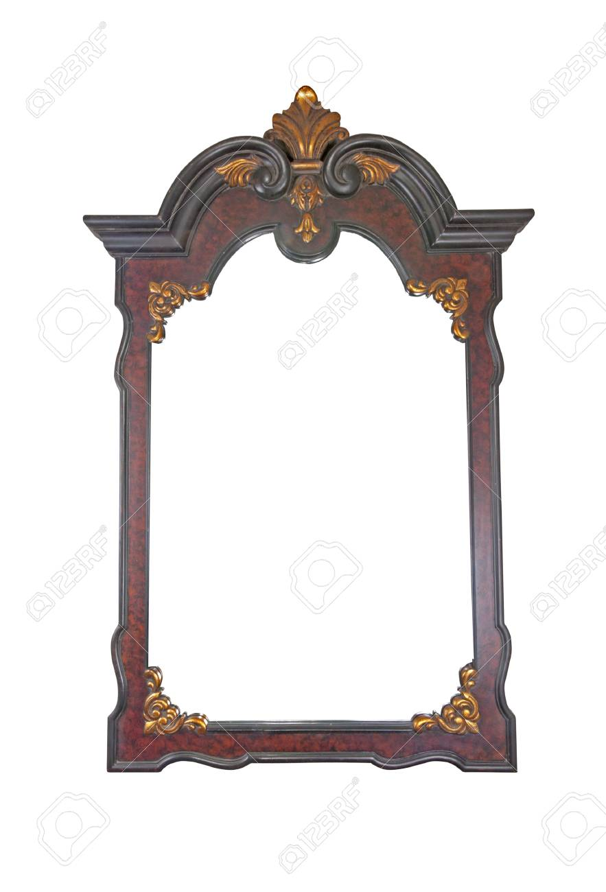Large Decorative Mirror With Ornate Wooden Frame Stock Photo ...