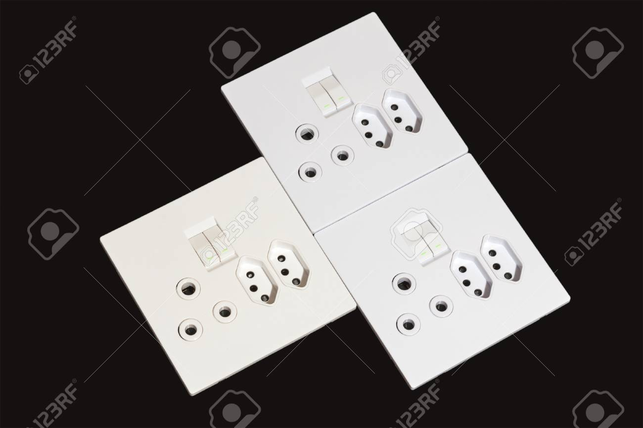 Close Up Of Three Beige And White Multipurpose Electric Wall.. Stock ...