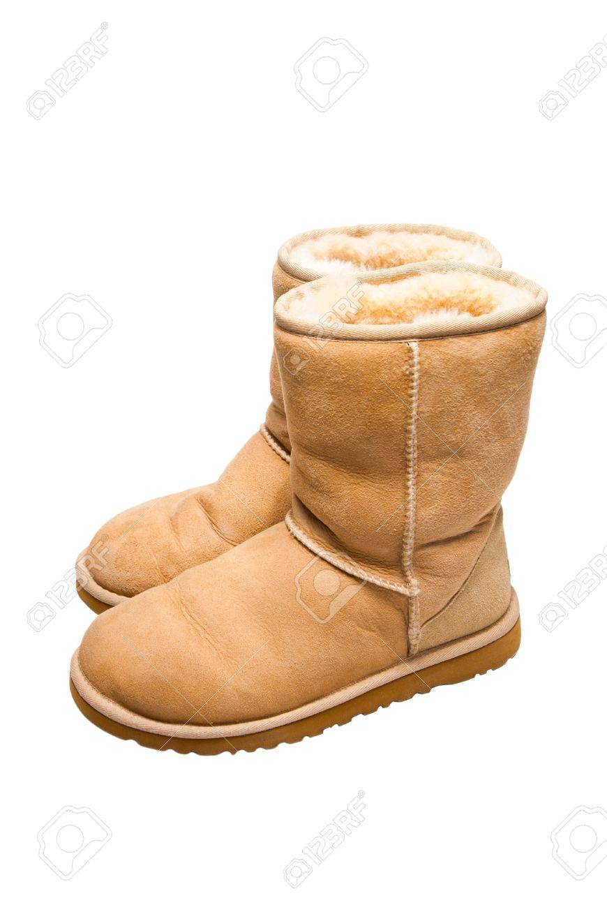 Womens Sheepskin boots isolated on white Stock Photo - 7056218
