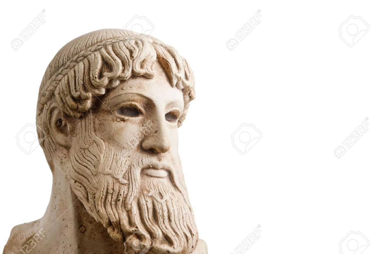 Ancient Greek god Poseidon - god of the sea, horses, and earthquakes. Plenty of room for copy to the right. Stock Photo - 7689502