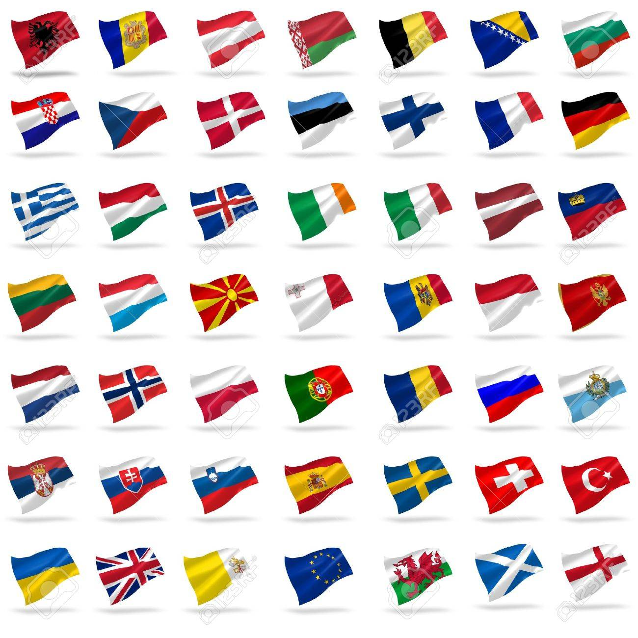 all european flags set icons with shadows on white Stock Photo - 14465495