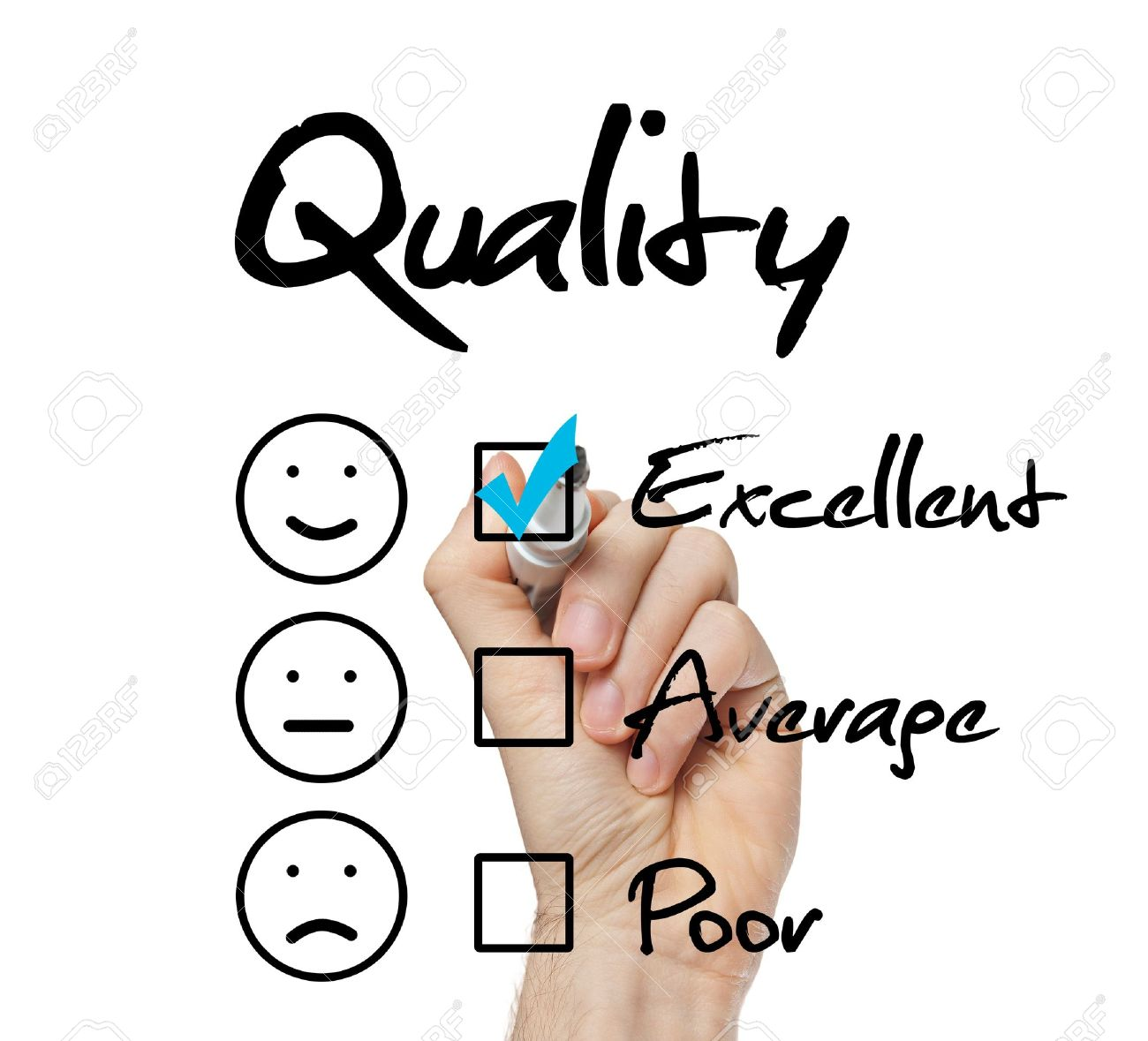 b70b0a5d0ac Hand putting check mark with blue marker on excellent quality evaluation  form Stock Photo - 22178970