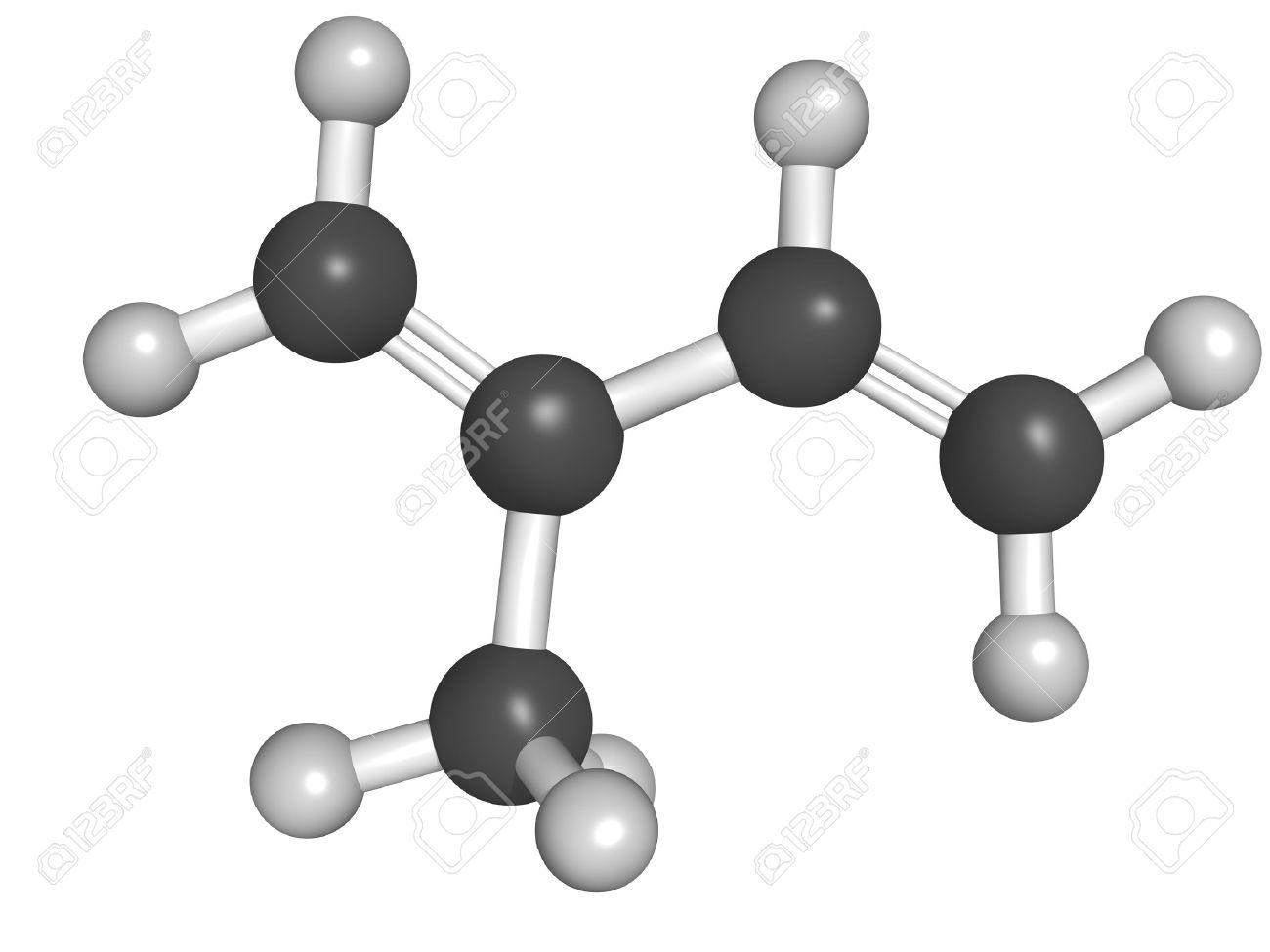 Chemical structure of isoprene, rubber (polyisoprene) building