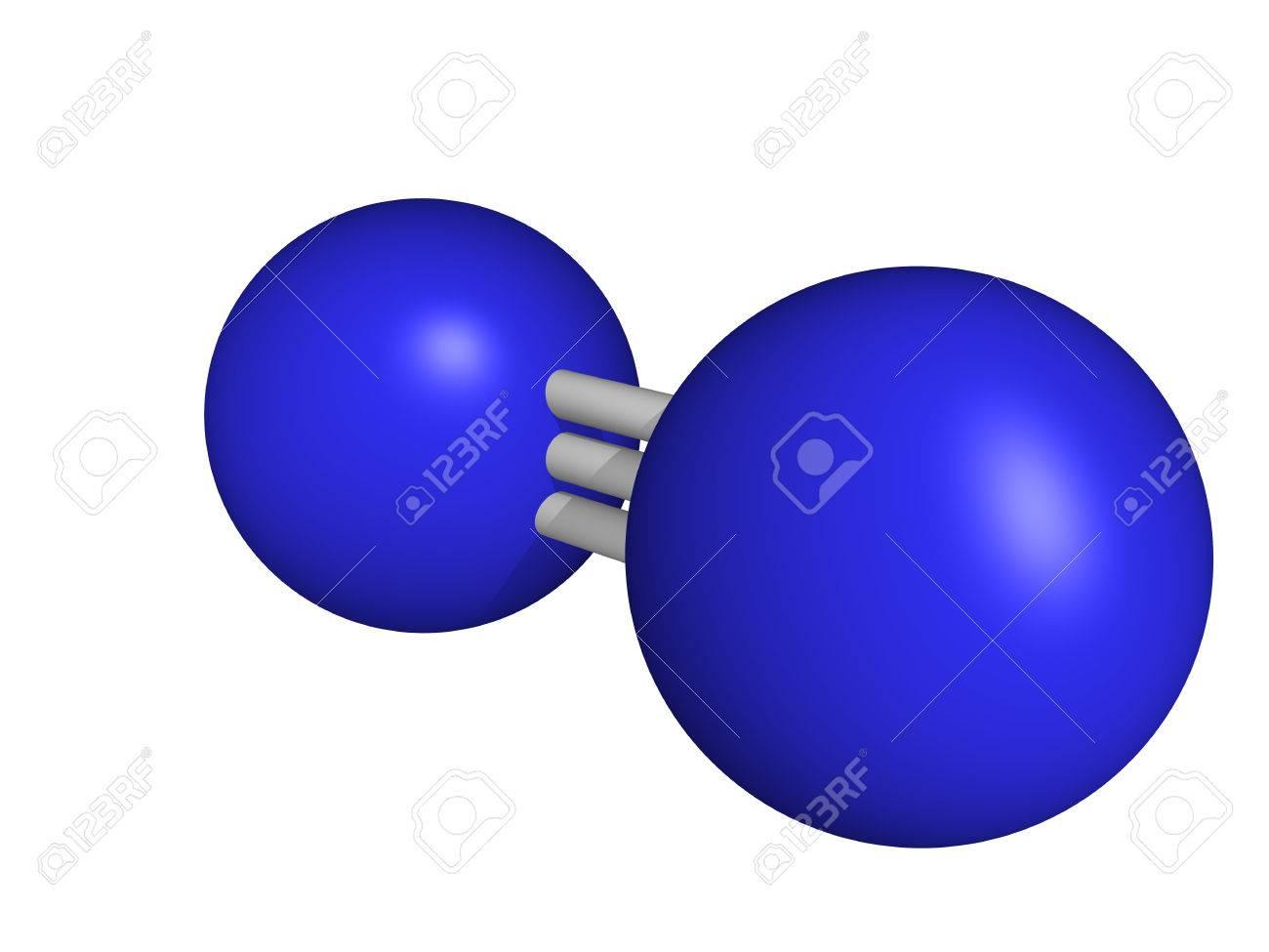 molecular model Nitrogen  N2 Molecule