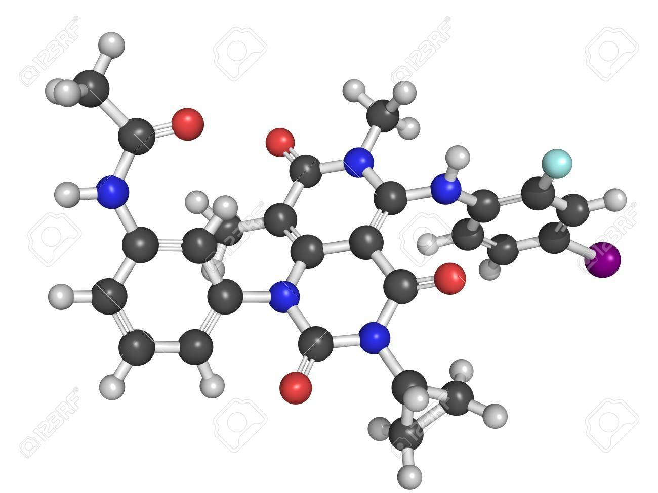 Chemical structure of trametinib, a melanoma cancer drug Stock Photo - 22949314
