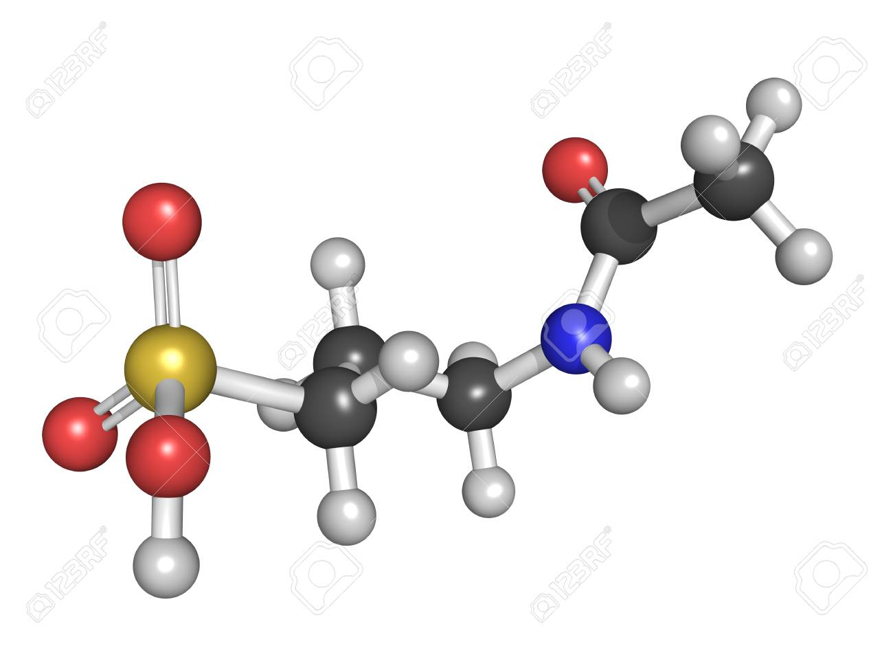 Acamprosate alcoholism treatment drug, chemical structure. Atoms are represented as spheres with conventional color coding Stock Photo - 23152980