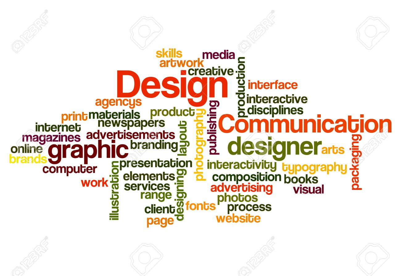 graphic design concept word cloud on white