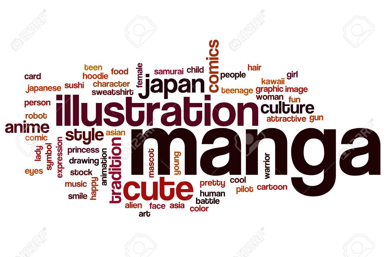 Illustration manga word cloud concept with illustration japanese related tags