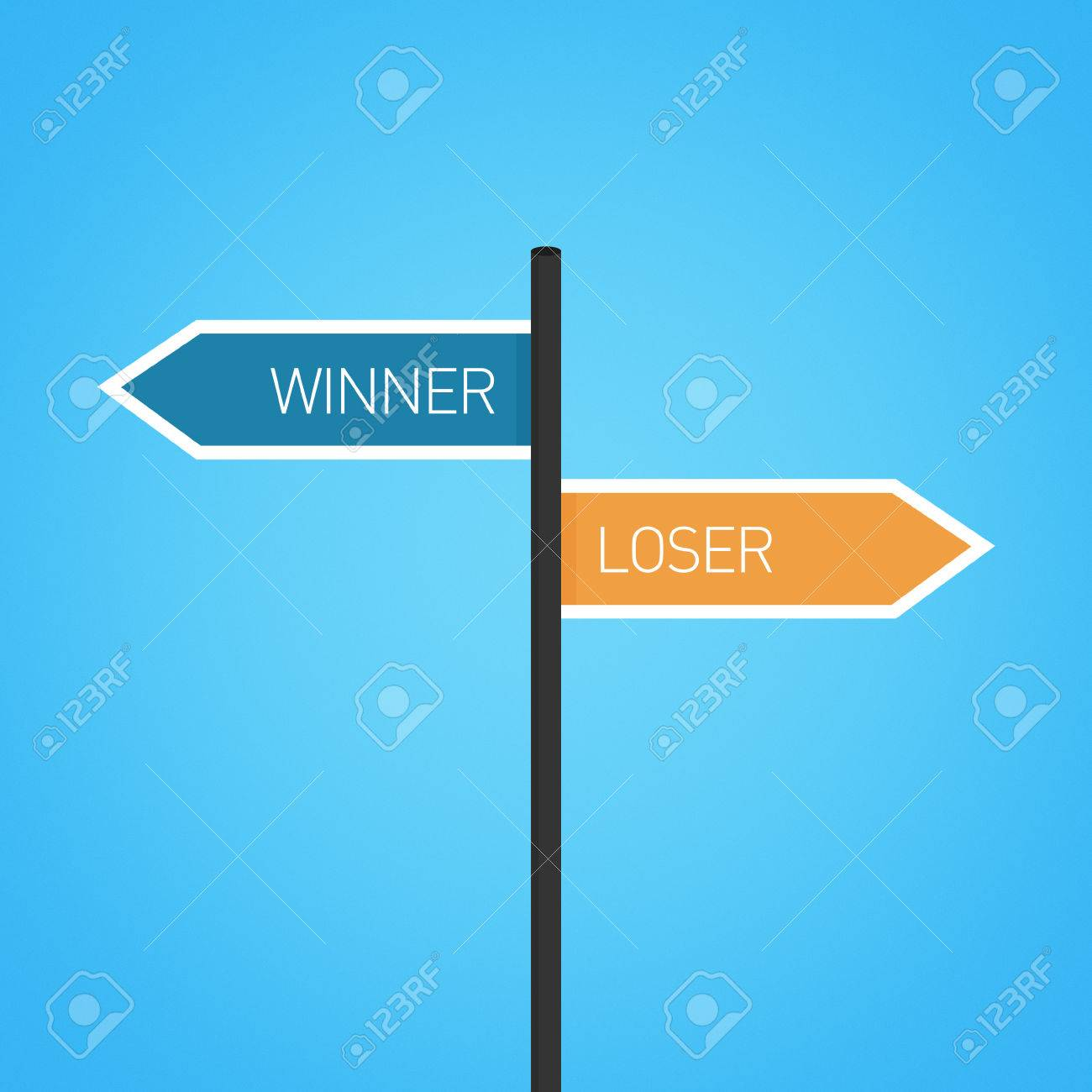 Winner vs loser choice road sign concept, flat design