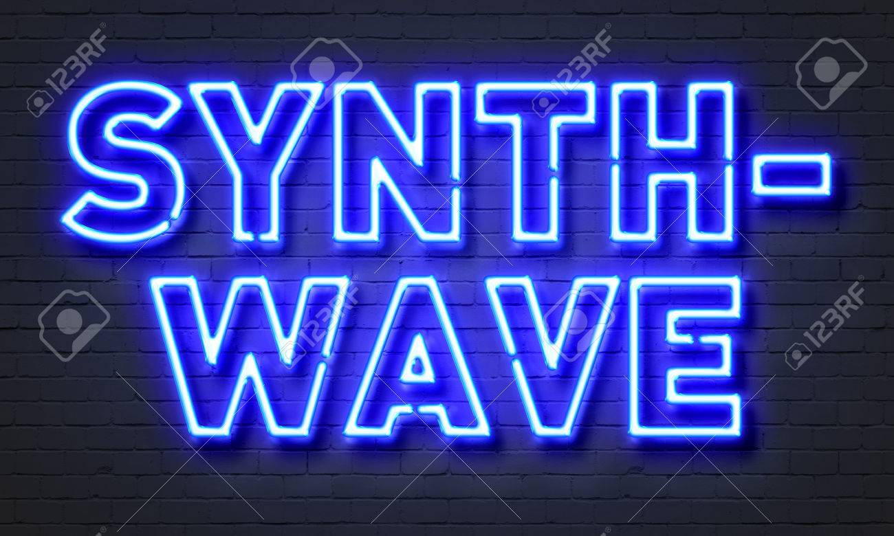Synthwave neon sign on brick wall background Stock Photo - 71965507