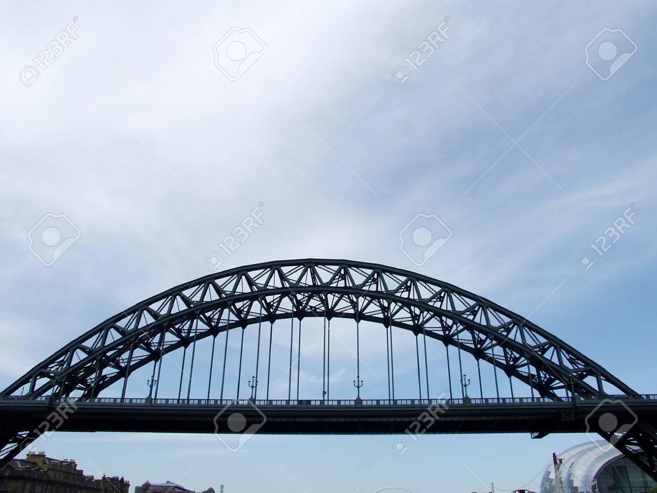Tyne Bridge famous landmark in Newcastle upon Tyne with  sage gateshead on the background Stock Photo - 1404902