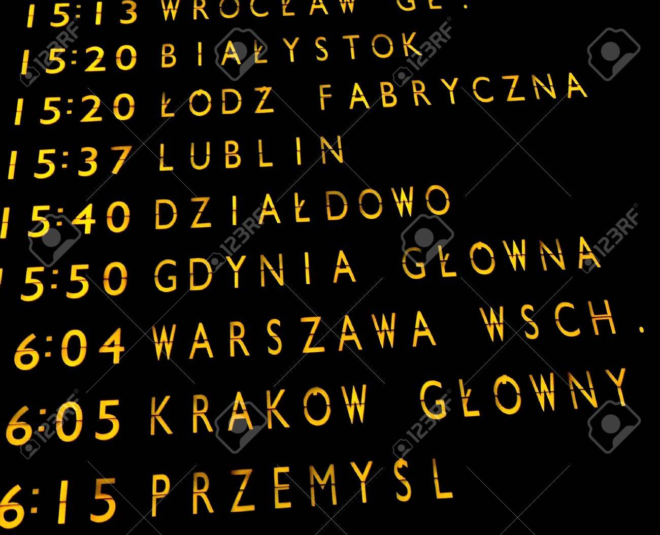 Trains departures board at the main train station in Warsaw Stock Photo - 1481645