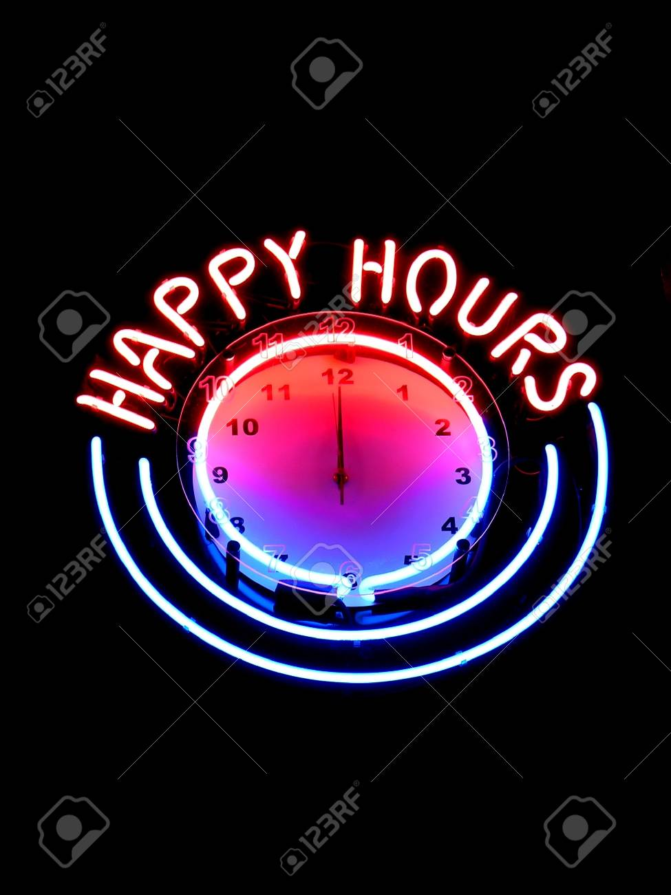 Happy hours clock in nightbar Stock Photo - 1637430