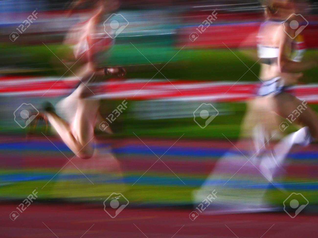 two athletes women running motion blur Stock Photo - 1704782
