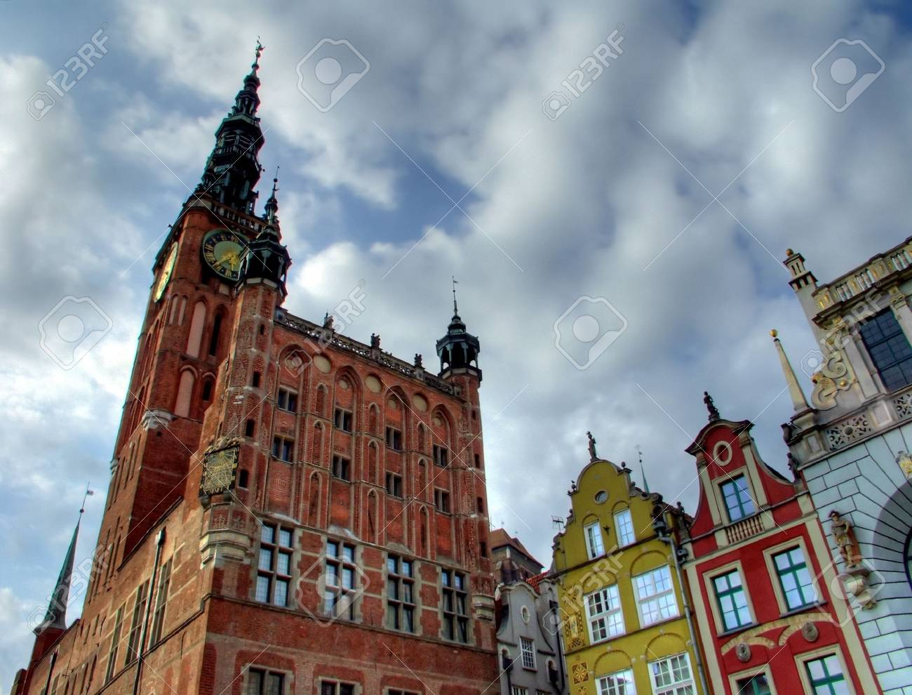 Gdansk Town Hall with colorful houses Stock Photo - 1990809