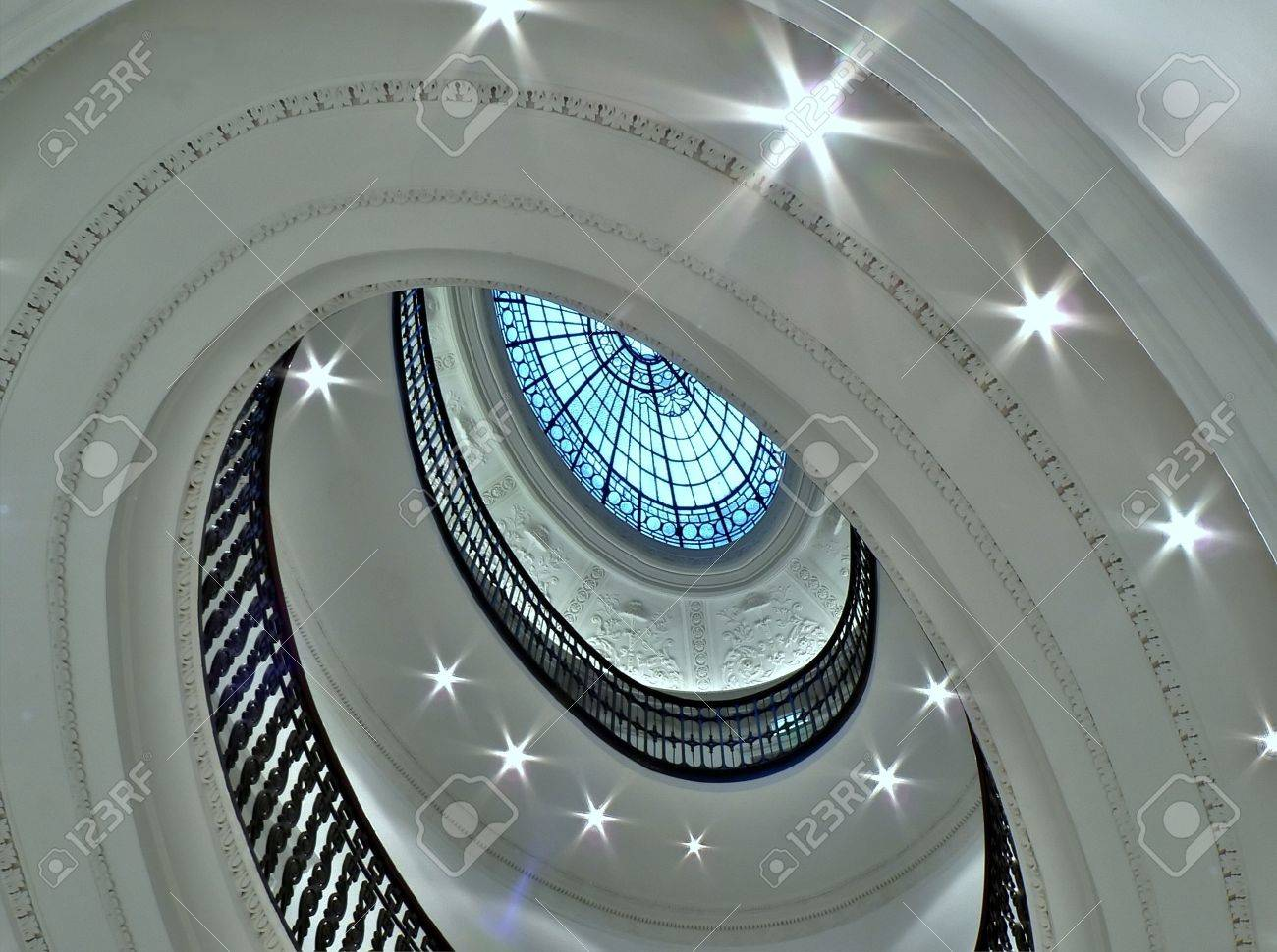 Spiral staircase with glass atrium black and white in glasgow Stock Photo - 2131370