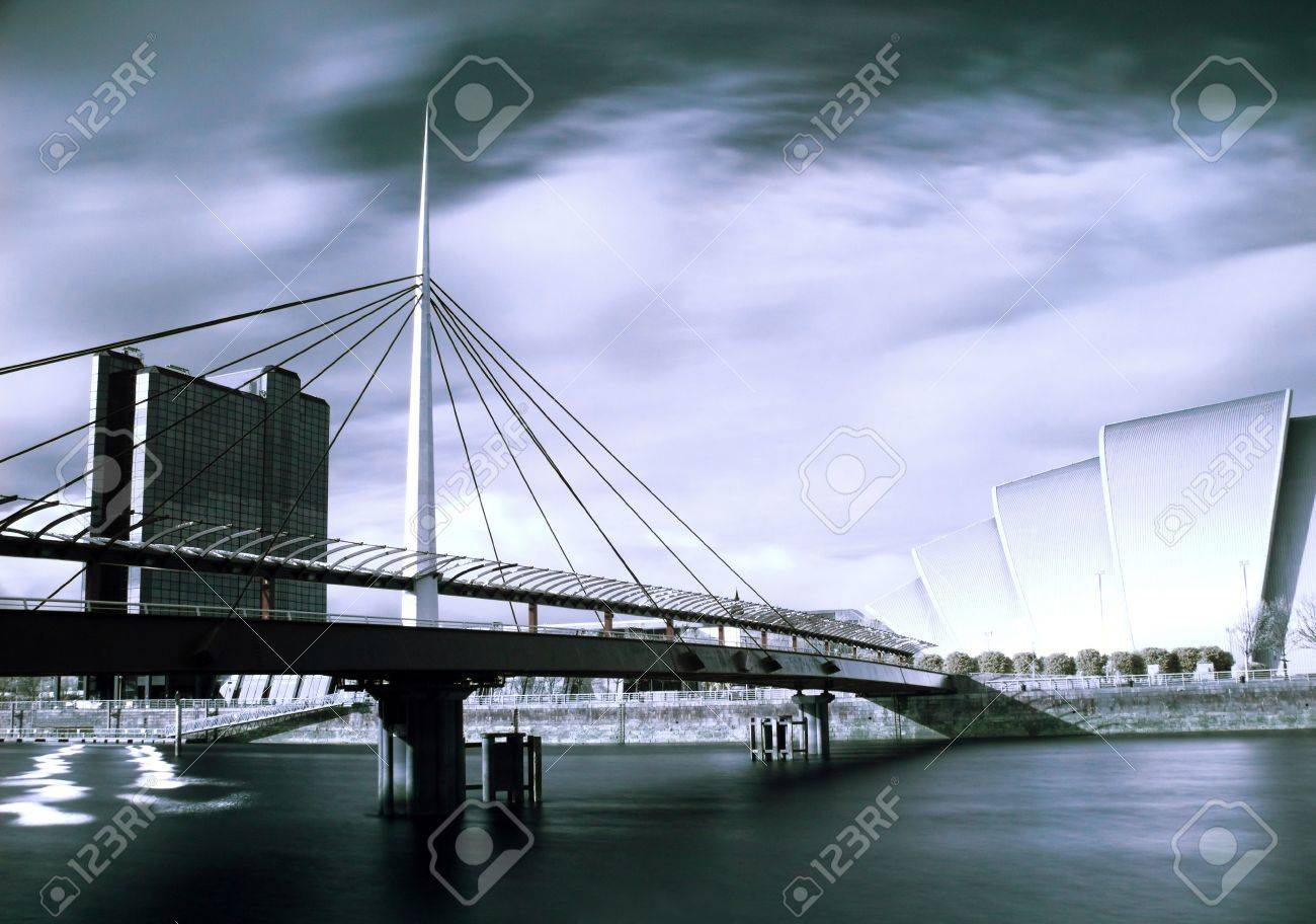 Infrared picture of the Bell bridge and Armadillo SECC on the Clyde river in Glasgow Stock Photo - 4657296