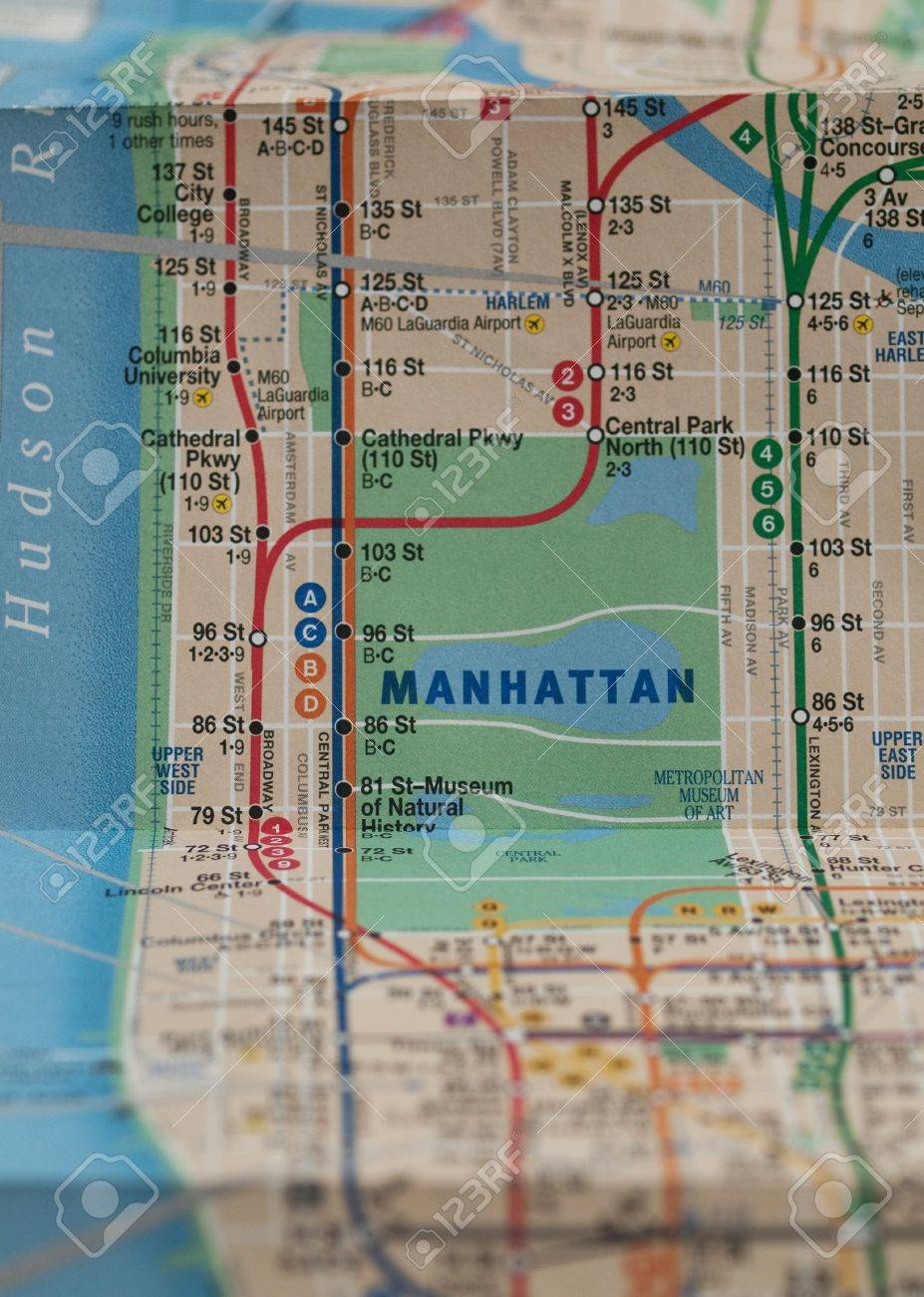 Nyc Subway Map Laguardia.Folded New York City Subway Map With Selective Focus On Central