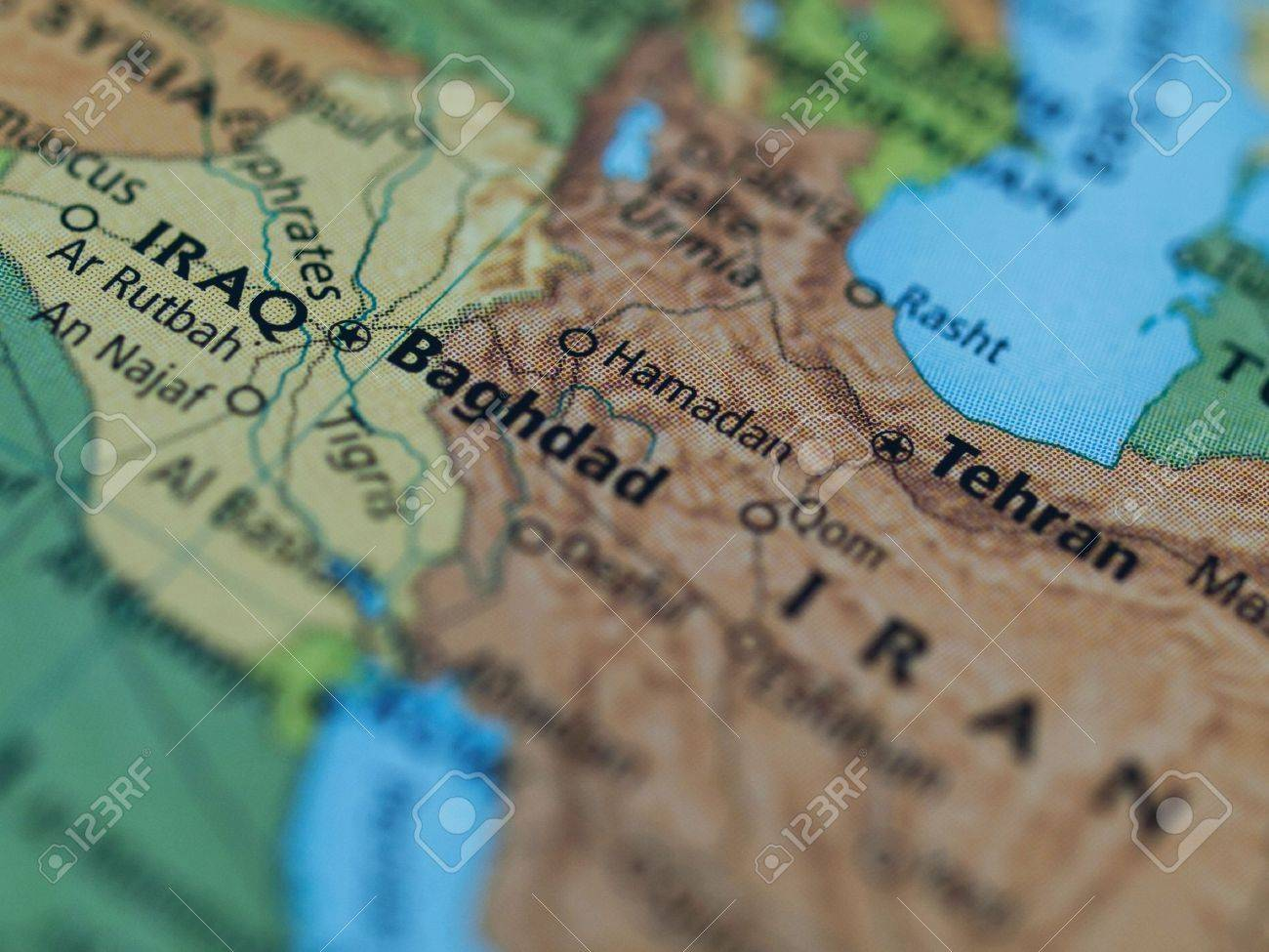 Map Of Iraq Iran Area With Selective Focus On Baghdad Iraq Stock ...