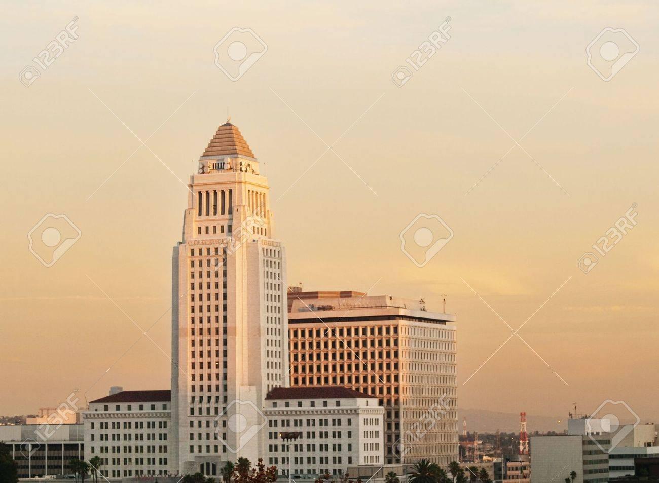 Los Angeles California City Hall  at dusk Stock Photo - 6272840