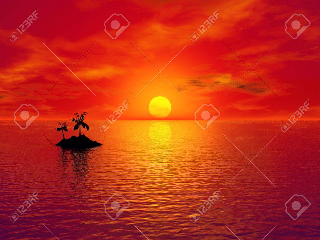 3D rendering of a small island with coconut trees at sunset Stock Photo - 6854838