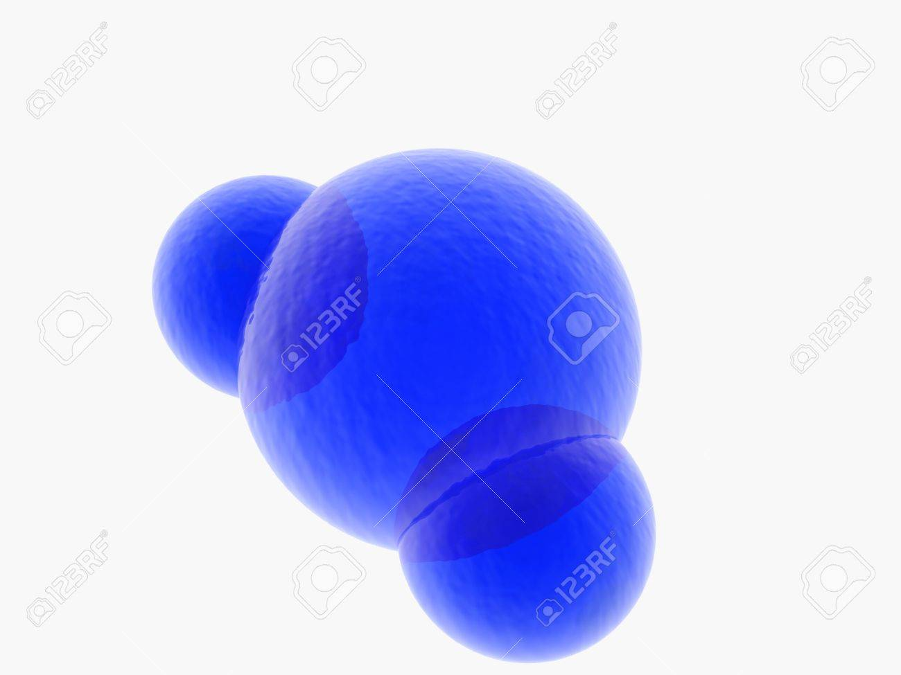 3D rendering of  a blue model of  water molecule molecule on white background Stock Photo - 6981525