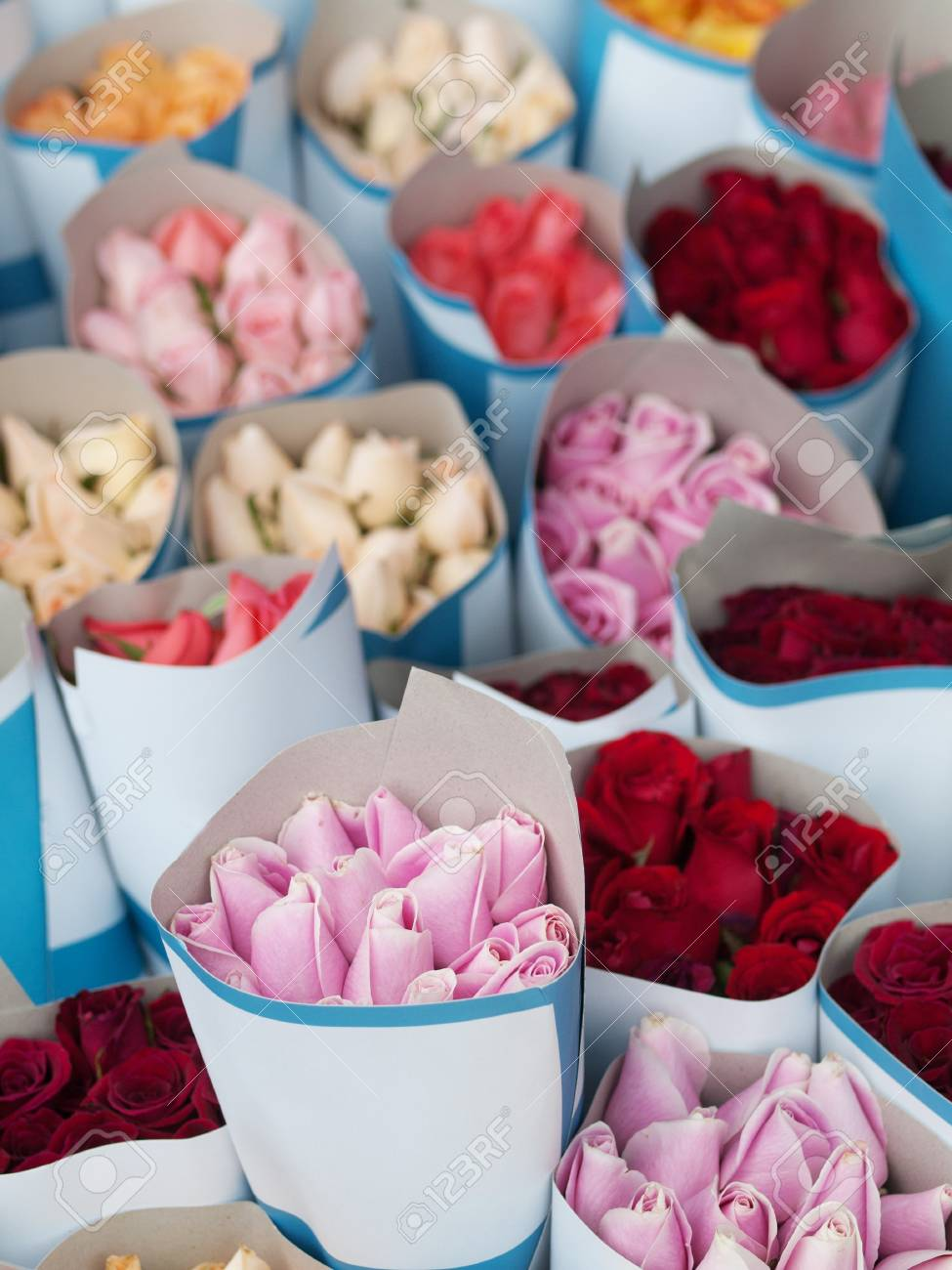 Bunch of colorful  roses on display in a market Stock Photo - 7556811