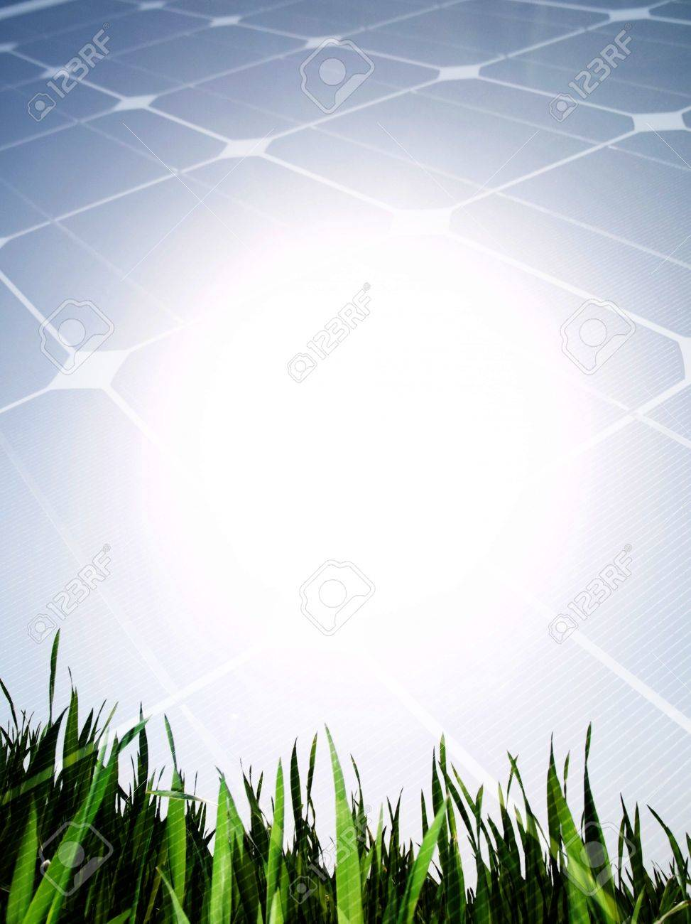 Fresh green grass field against the sun with solar panel Stock Photo - 7556801