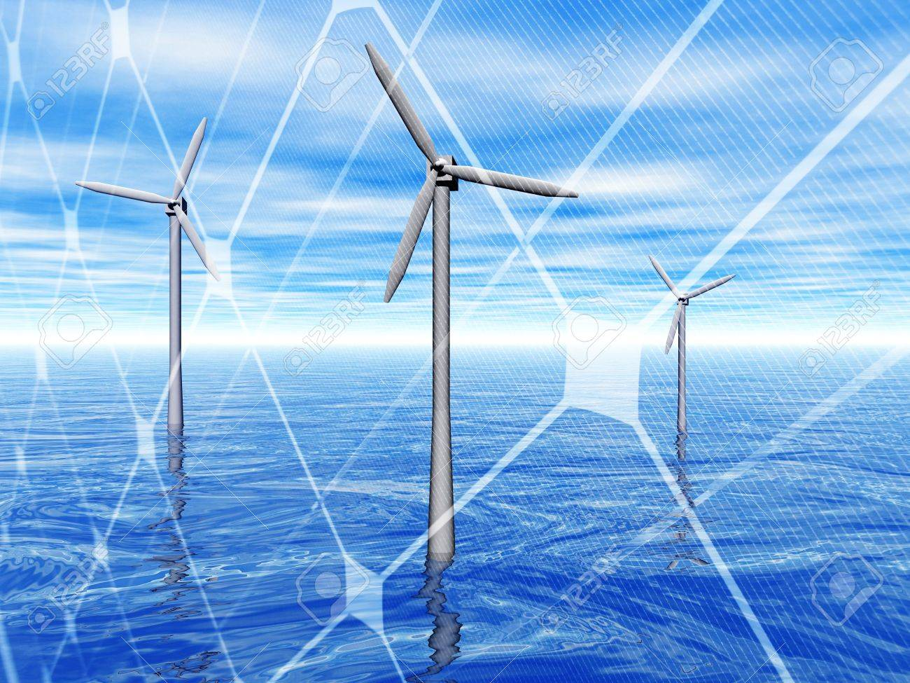 3D rendering of a wind turbines in the sea with solar panel Stock Photo - 7556809