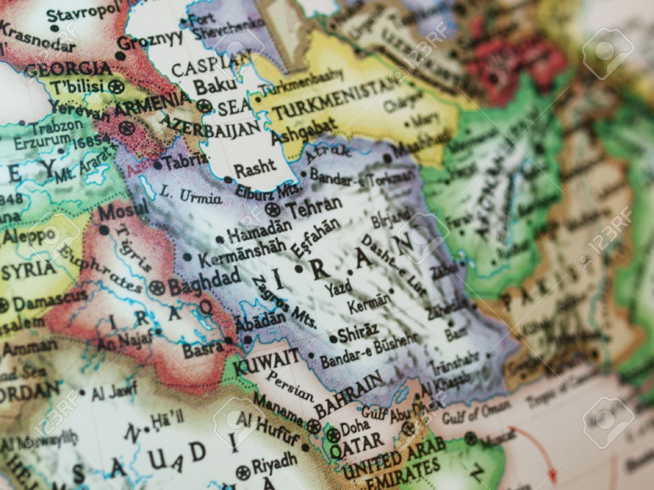 Map with Iraq and Iran with selective focusing on Iran Stock Photo - 8034076