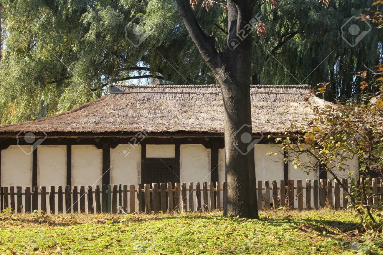 Korean Village House In The Chinese National Garden Stock Photo
