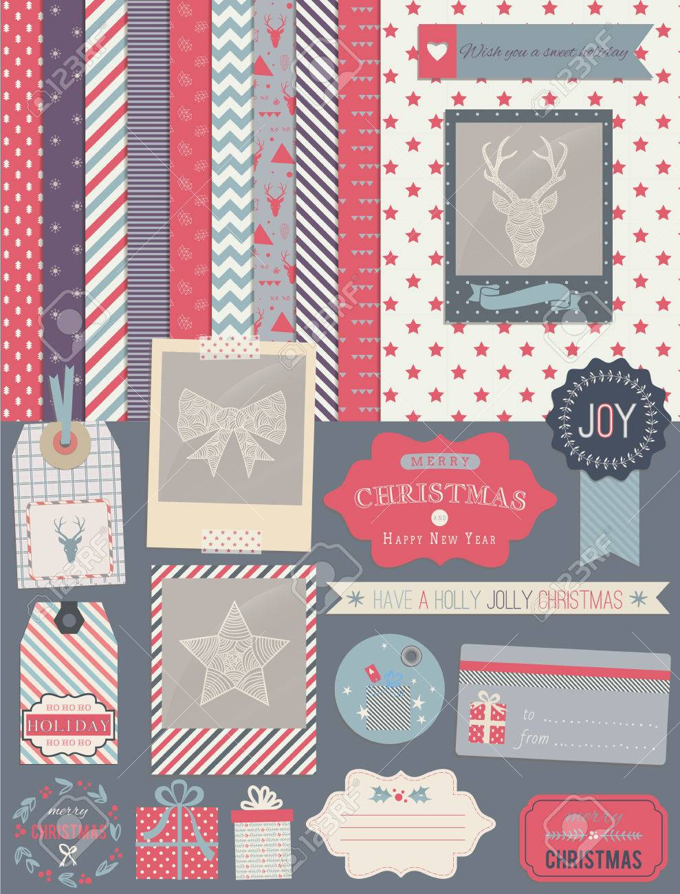 Scrapbook Design Elements Christmas Decorations Frames Ribbon