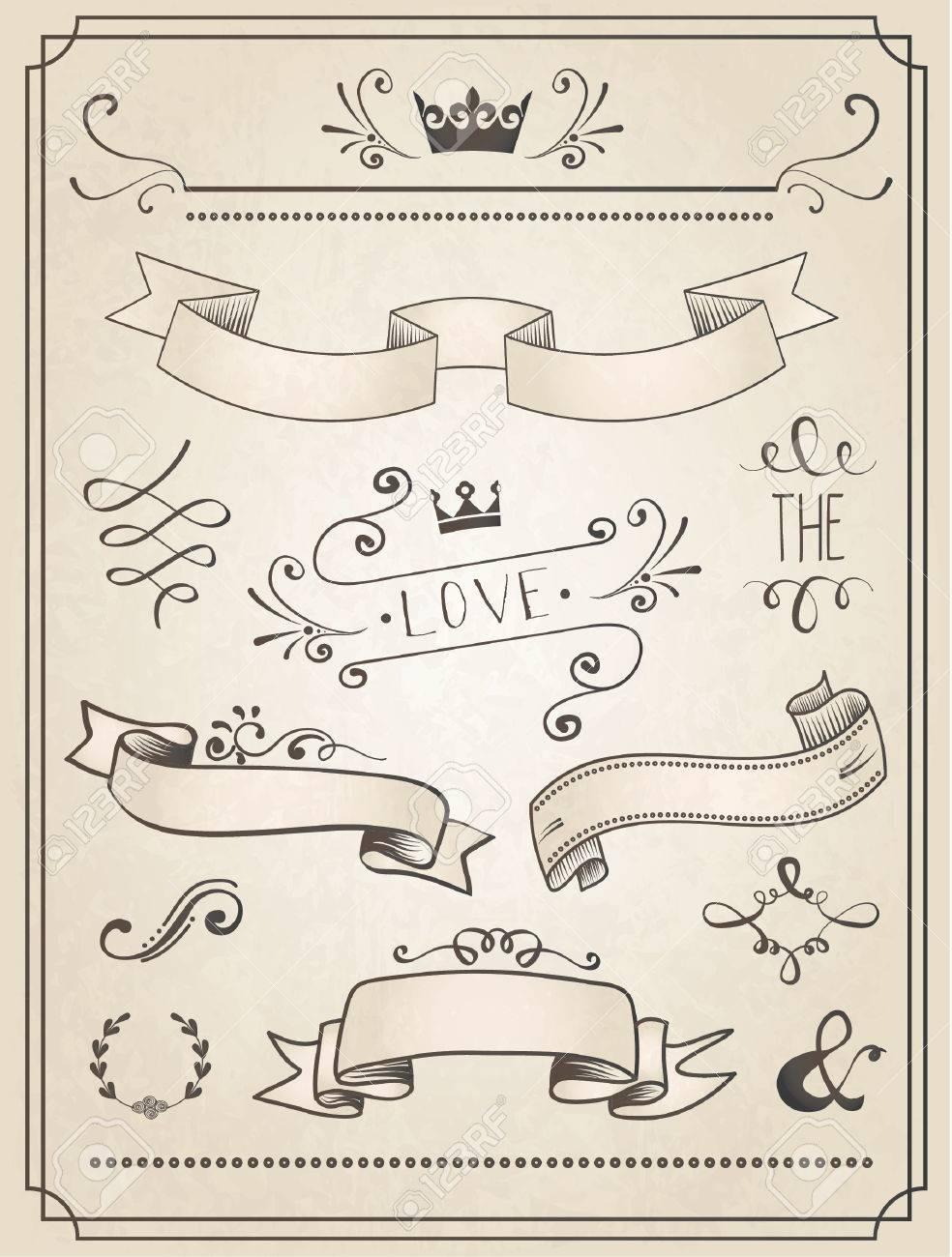 Vintage Wedding Grafiksatz, Rahmen, Pfeile, Herzen, Lorbeer ...
