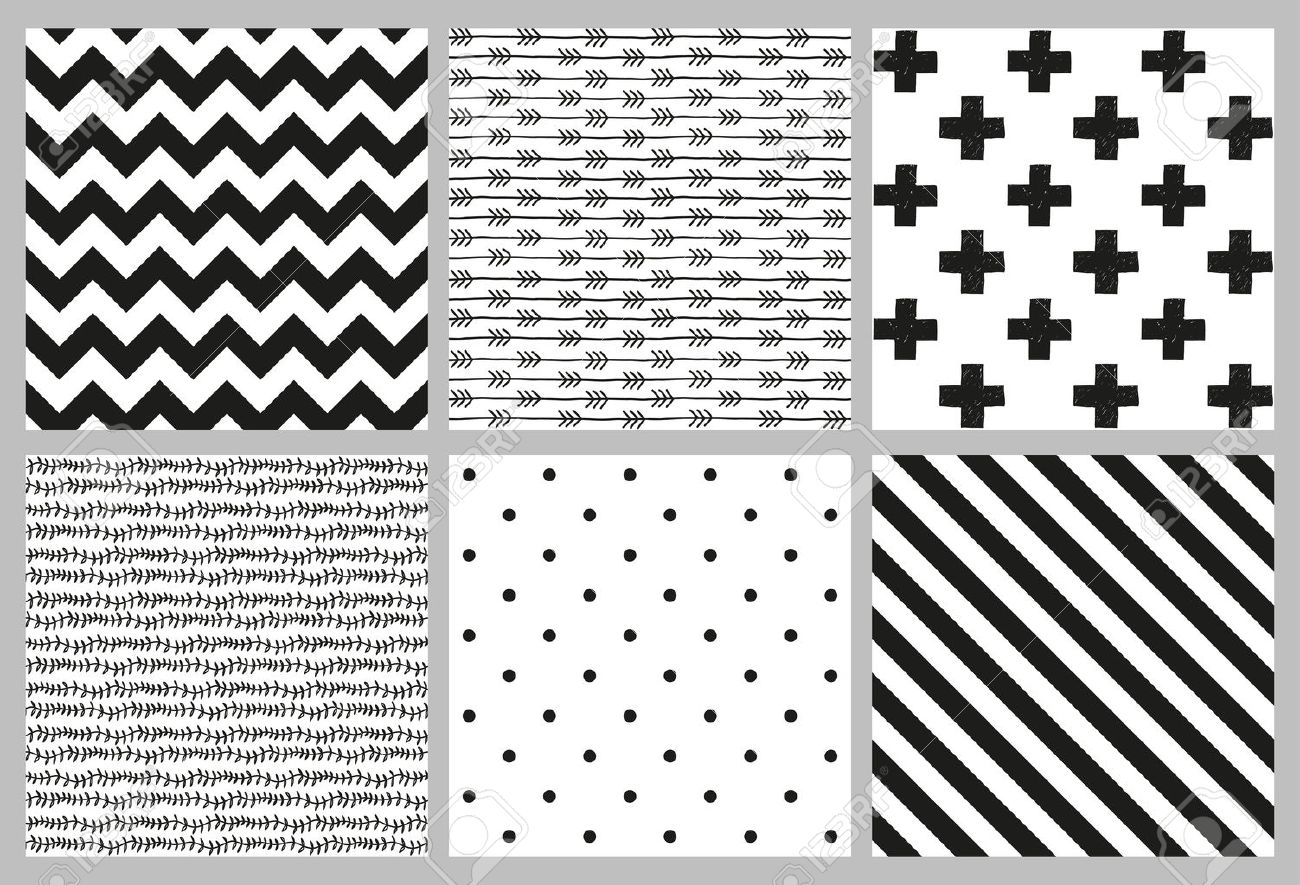 Set of 6 black and white Scandinavian trend seamless pattern - black cross, polka dots, chevrons, stripes, arrow and branch background. Stock Vector - 48854381