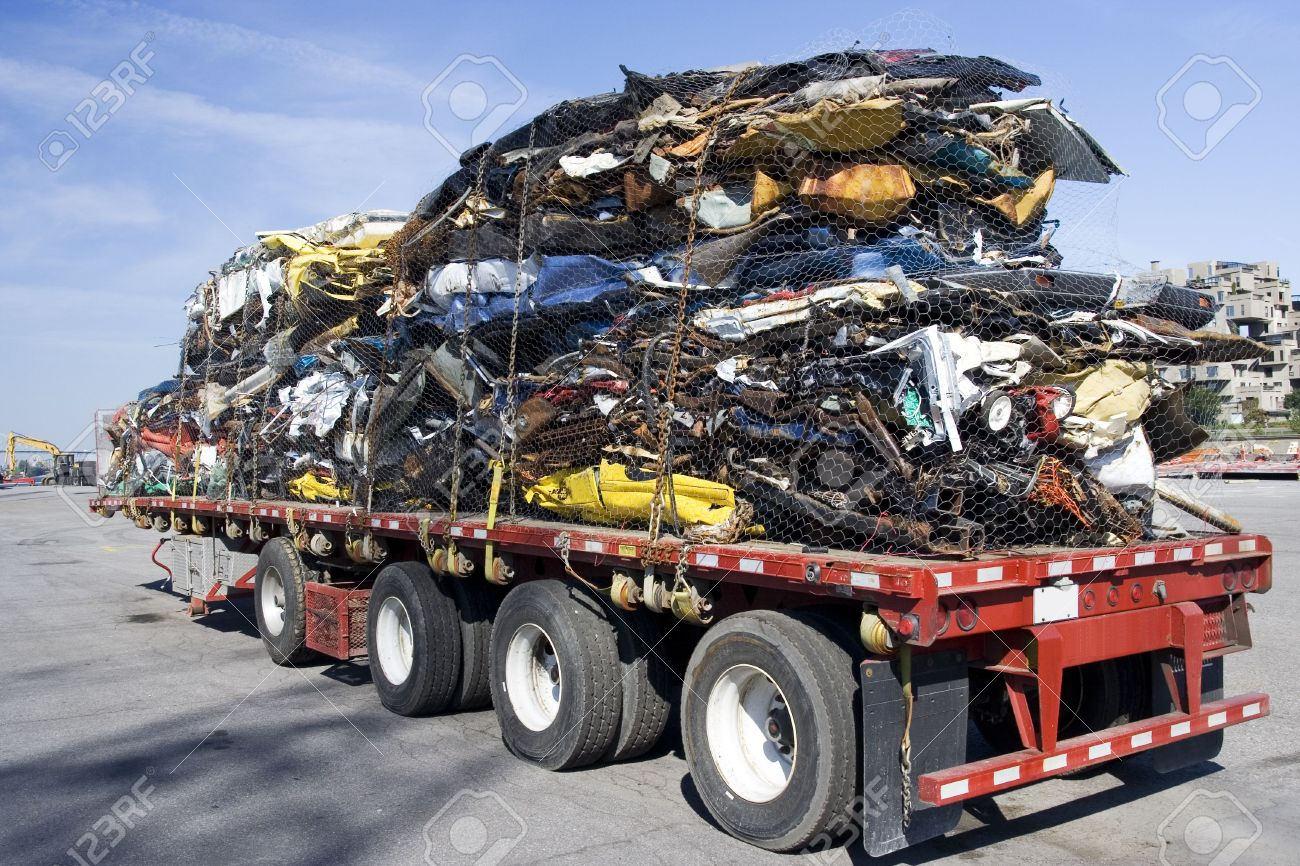 Truck Full Of Wrecked Cars For Scrap Stock Photo, Picture And ...