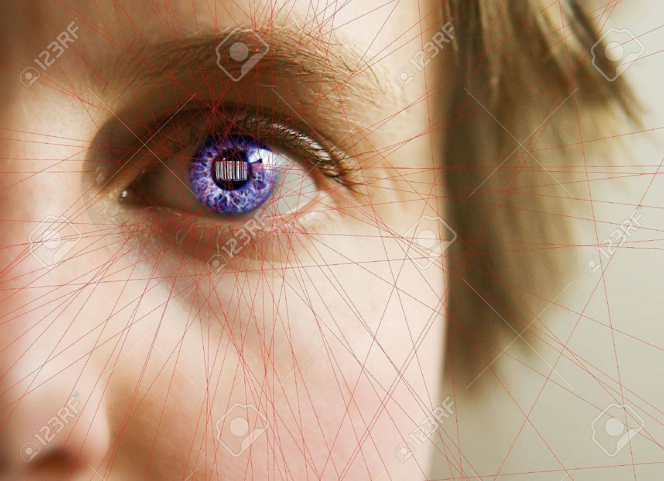 Red laser lines scanning the face and retina of a woman.  The iris is overlayed with a bar code.  Security, big brother, privacy concept image. Stock Photo - 342769