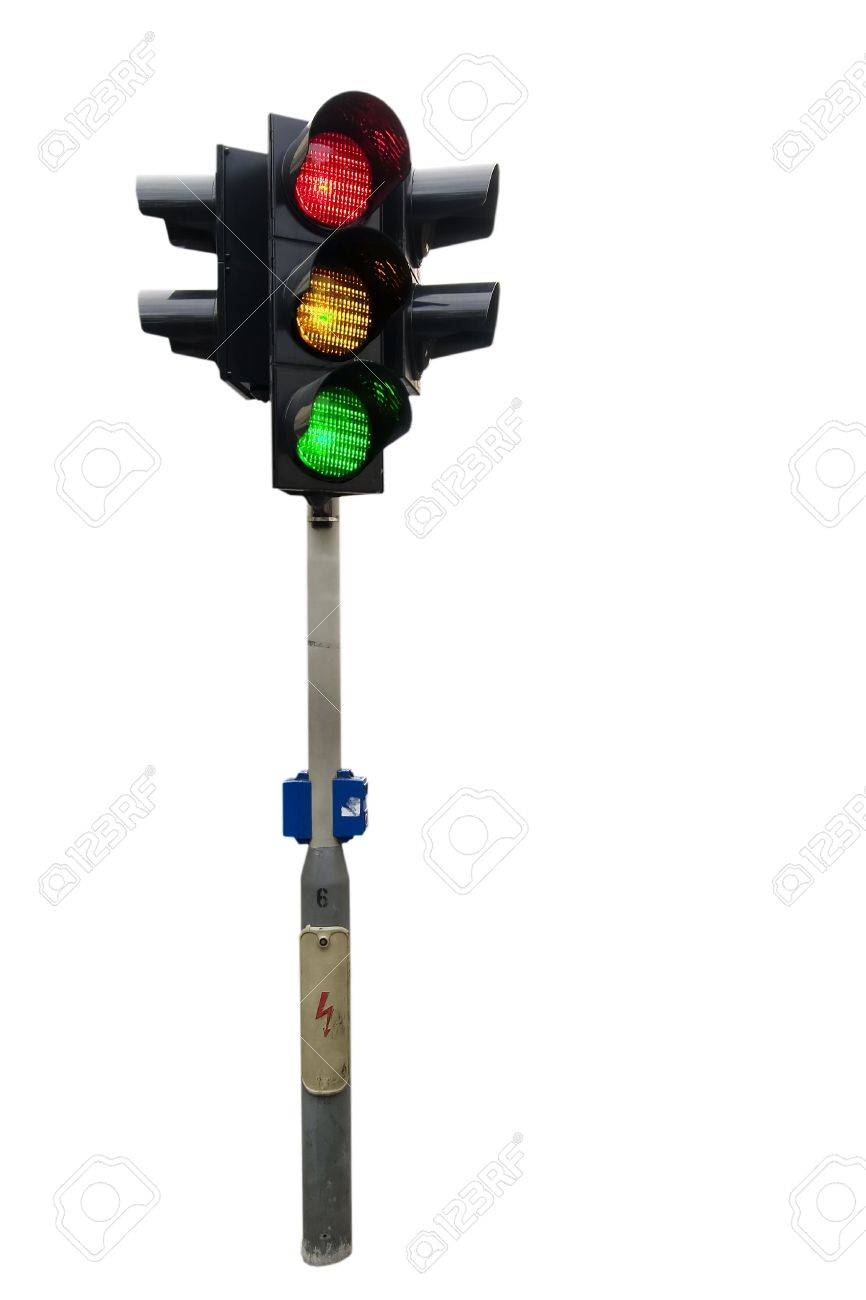 An isolated traffic light from Prague with all lights lit. Stock Photo - 378846