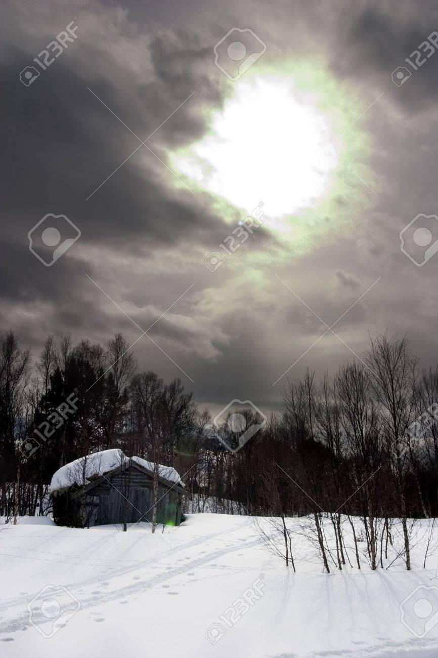 A winter night cabin scene Stock Photo - 400289
