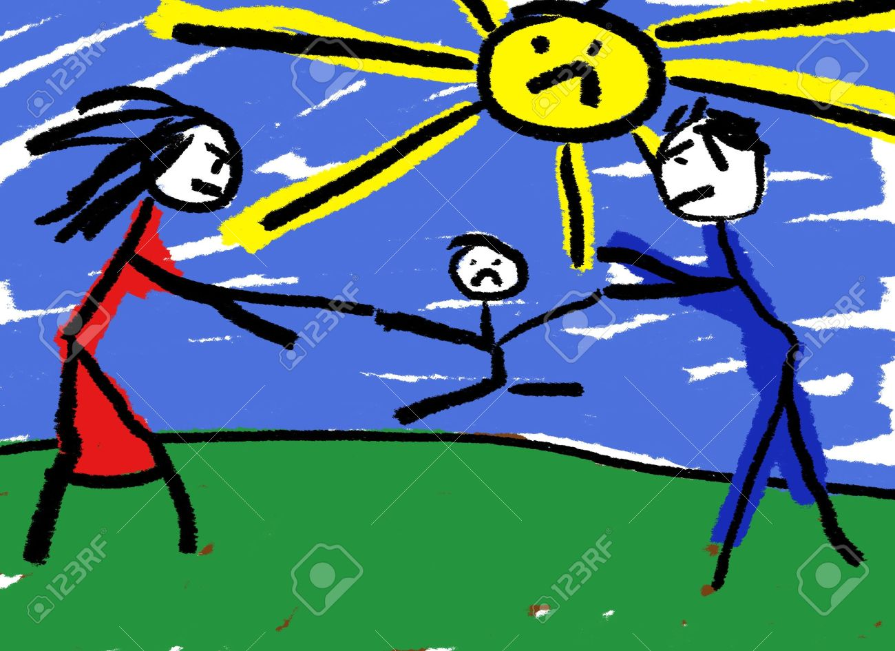 Disegno Di Un Bambino : Un bambino di disegno che illustrano il divorzio con il bambino