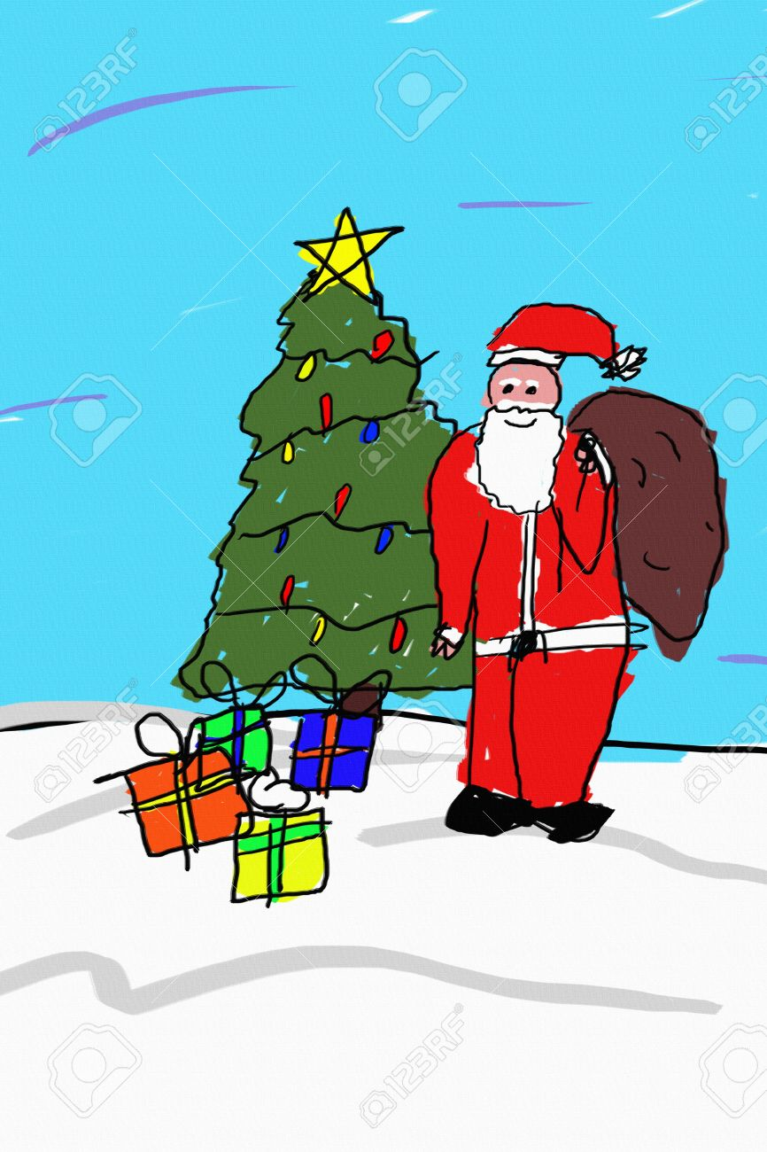 a child like drawing of santa in front of a christmas tree with