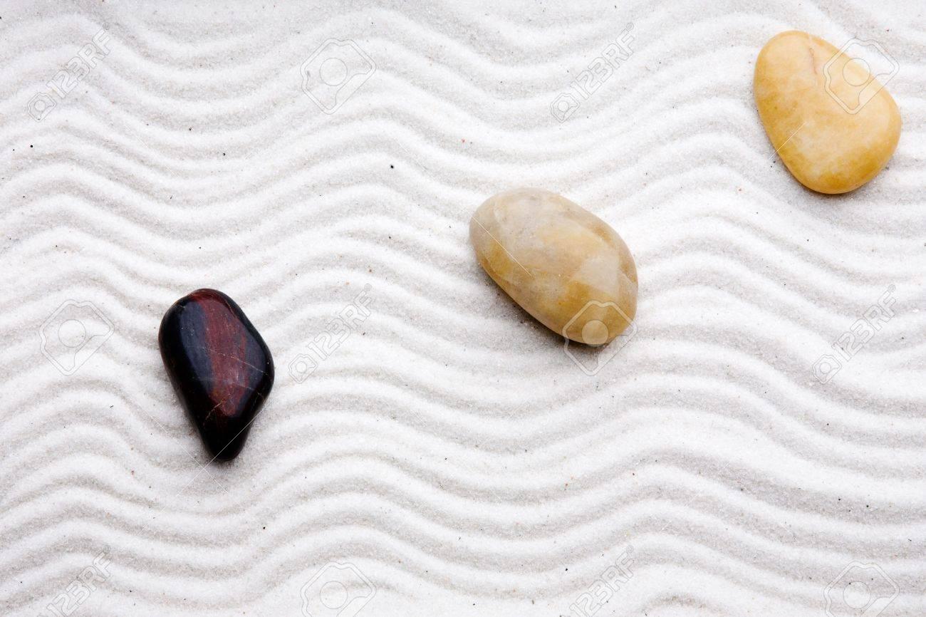 Japanese Zen Rock Garden With White Raked Sand Stock Photo   3516577